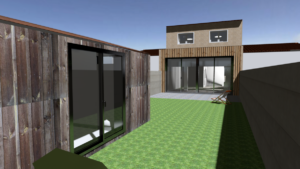 Extension rdc + cabanon vue 3D